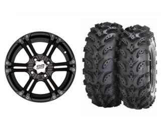 ITP SS212 Black 14 ATV Wheels on 27 Swamp Lite Tires for Yamaha