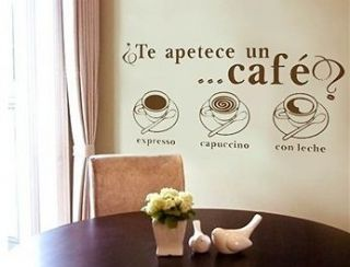 Spanish Cafe Coffee Expresso Cappuccino Wall Decal Stickers Vinyl Room