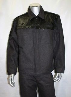 Davoucci Black Denim Jacket with Pony Hair ( Matching pants available