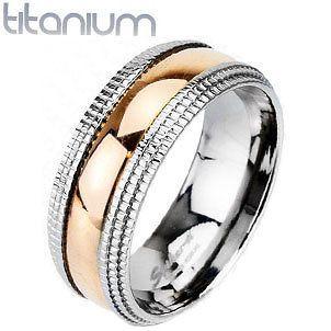 Spikes Solid Titanium Rose Gold IP Centered Beveled Machined Edge Band