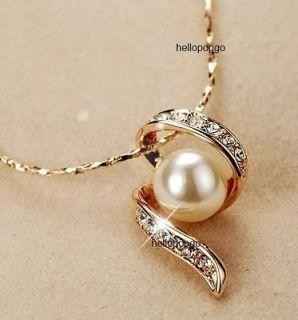 18K Rose Gold GP Swarovski Crystal Big Pearl Hot Necklace CCC43