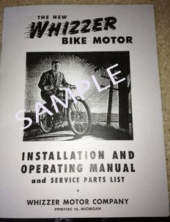 Whizzer Motor Bike Installation & Operating Manual & Service Parts
