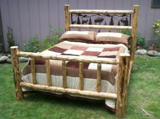 Twin Full Queen King Rustic Pine Log Bed w/ Iron Wildlife Scene, elk
