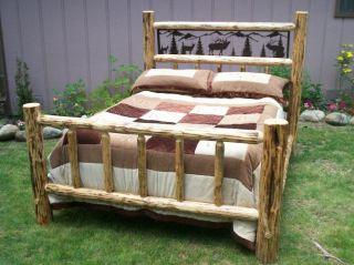 Twin Full Queen King Rustic Pine Log Bed w/ Iron Wildlife Scene, elk