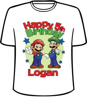 Personalized Mario and Luigi from Super Mario Brothers Birthday T