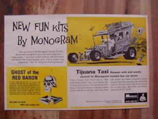 1969 MONOGRAM TIJUANA TAXI GHOST OF THE RED BARON MODEL AD M/NM 1969
