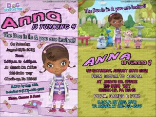 Doc McStuffins DISNEY BIRTHDAY PARTY INVITATION CARD CUSTOM INVITES