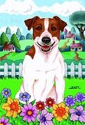 NEW small Garden size Spring time Flag for Jack Russell dog lover 12