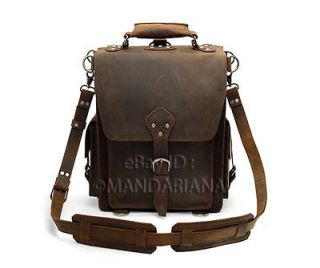 Vintage Style Leather Messenger Bag Backpack Briefcase Satchel Laptop