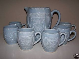 sylvac flowered water pitcher jug with 6 matching mugs from