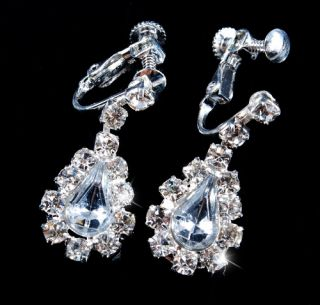 2line Clear Costume Bridal Necklace Earring Set Rhinestone