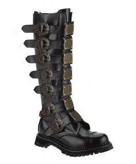 Two Colors Demonia 30 Eye Steampunk Metal Steel Toe Knee Boots Mens