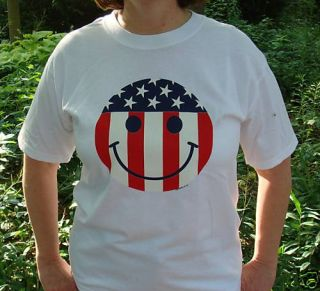 4th of July Happy Smiley Face Unisex White T Shirt XL