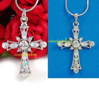 White Clear Heart Cross Rhinestone Pendant Necklace 686