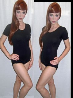 Womens Vintage 80s Black Spandex LEOTARD Dance Bodysuit Blouse M