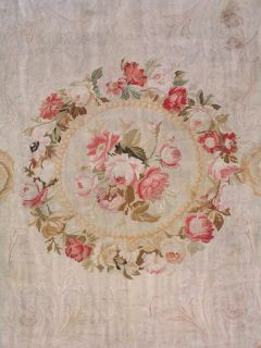 14x22 Antique 1880s French Aubusson Hand Knotted Wool Area Rug Carpet