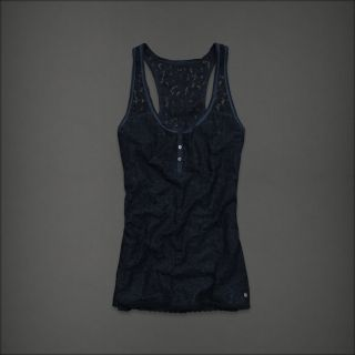 NWT ABERCROMBIE by Hollister Women Navy Blue Floral Lace Cami Tank Top