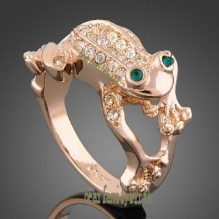 Cute Frog 18K Rose Gold GP Swarovski Crystal Ring R40