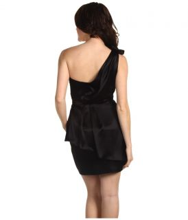 ABS ALLEN SCHWARTZ (Sz 10) Black Peplum Drape Dress With Bow NWT