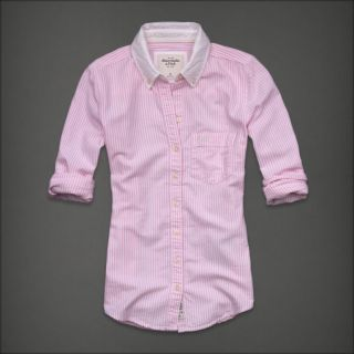 Abercrombie Fitch Women Pink Stripe Button Down Oxford Shirt Top Janna