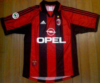 AC MILAN 1998 00 M Adidas Home Jersey Maglia LEGA CALCIO Patch ITALY