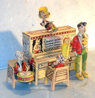 Lil Abner Dogpatch Band 1945 Unique Art Tin Litho Windup Toy Complete