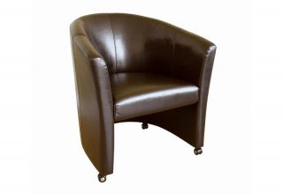 Modern Dark Brown Leather Club Chair Accent Chair