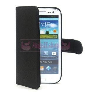Black Genuine Leather Flip Case Cover w Stand for Samsung i9300 Galaxy