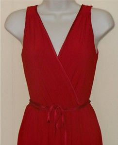 ABS ALLEN SCHWARTZ RED JERSEY V NECK SLEEVELESS DRESS   SIZE P
