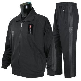Athletic Jacket Pants Jogging Shirts Bottoms Sports Sweat Black Active