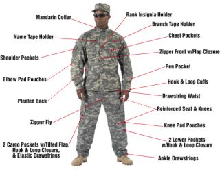 Military Tactical Army Combat Uniform ACU Pants Shirt