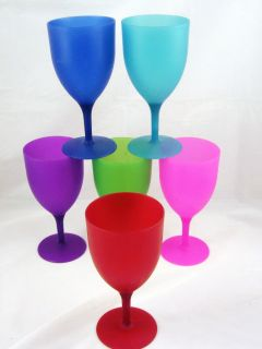 of 6 Multi Colored Party Plastic Wine Glasses 12 oz NEW