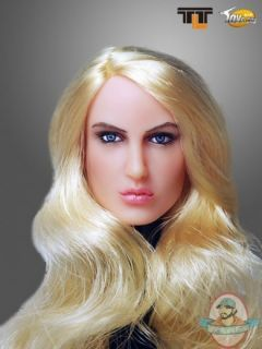 Scale Action Figure Female Head with Long Curly Blonde Hairstyle