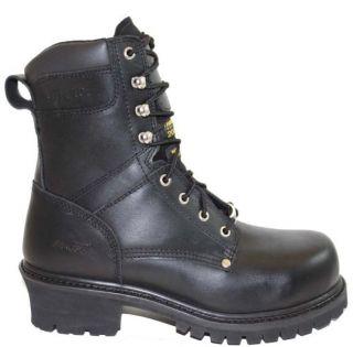 AdTec Mens Super Logger Steel Toe 9  Black Oil Full Grain Leather