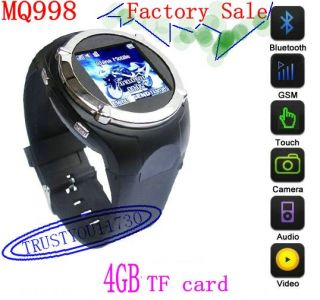 QUAD BAND TOUCH WATCH CELL PHONE CAMERA  BLUETOOTH DVR 1 SIM