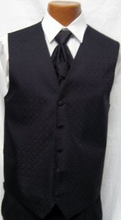 After Six Black Melrose Fullback Vest Tie Wedding