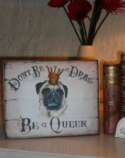 Fawn Pug Dog Sign Print Plaque Wall Art Picture Living Room Art