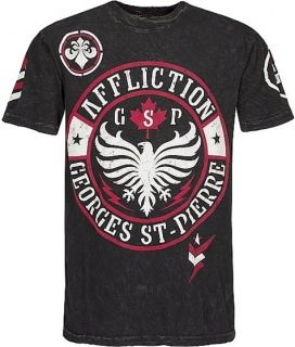 Affliction MMA Rush Georges St Pierre GSP Canadian Flag Black Mens Tee