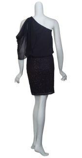 Aidan Mattox Black Beaded Silk Blouson One Shoulder Cocktail Eve Dress