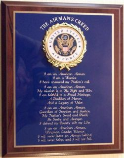 US Air Force Airmans Creed Plaque Great Gift or Award