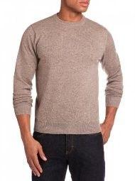 Alan Flusser Large Dark Beige 100% Cashmere Crew Neck Sweater