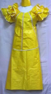 African Women Clothing Cotton Brocade Skirt Suit Yellow NotCom L XL 1X