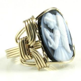 Praying Angel Agate Cameo Ring 14K Rolled Gold GF Custom Jewelry