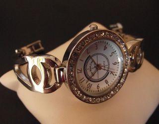 Reloj Pulsera Elegante Evemoncrois Para Mujeres Plata Y Blanco Con