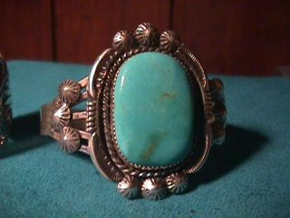 Navajo Turquoise Sterling Silver Cuff Bracelet Albert Cleveland