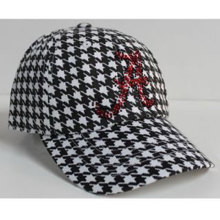 Alabama Crimson Tide Ladies Houndstooth Cap With Rhinestone Logo