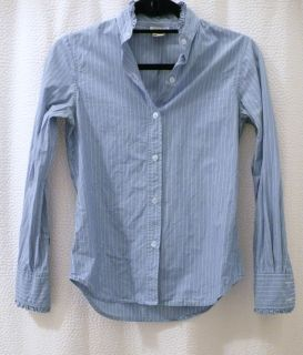 Steven Alan blue white striped ruffled shirt blouse top SZ S