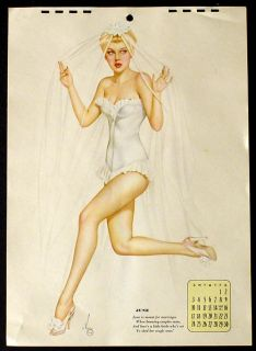 Vargas Pin Up Girl Orig Calendar Page June 1945 Sexy Bride in Heels