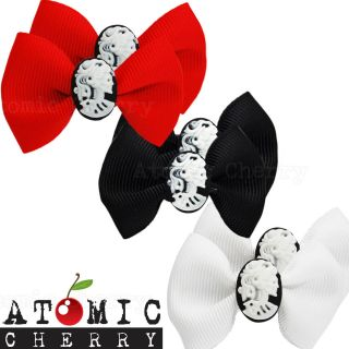 Bow Hair Clips with Skull Cameo Barrettes Rockabilly Pin Up Gothic