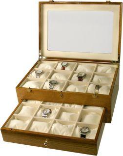 Solid Oak Wooden Wrist Watch Storage Display Case Box